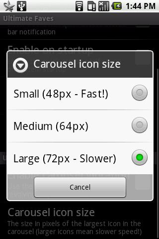 Icon size setting