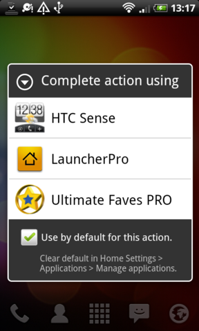 Set UltimateFavesPRO as your home-screen app.